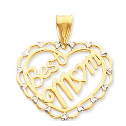 14k Yellow Gold Carved 'Best Mom' Heart Pendant
