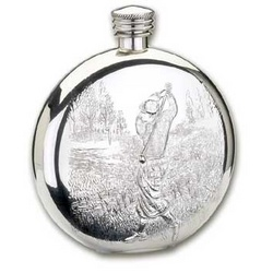 The Albatross Round Pewter Golf Theme Flask
