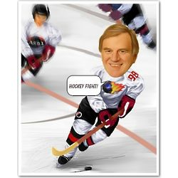 Ice Hockey Player Custom Photo Caricature Print