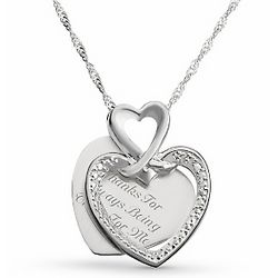Me to You Necklace Silver Plated Heart Necklace