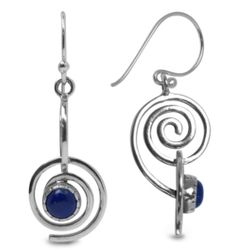 Lapis and Sterling Swirl Earrings