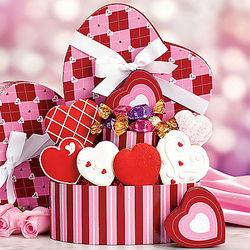 Valentine Cookie and Godiva Truffle Gift Basket