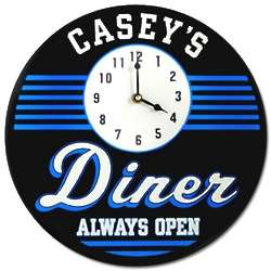 Always Open Diner Personalized Clock