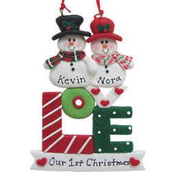 Personalized Love Snowman Couple Christmas Ornament
