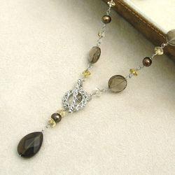 Smoky Quartz and Pearl Drop Necklace