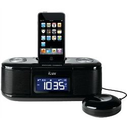 Black iPod Dual Alarm Clock with Bed Shaker