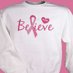 Personalized Believe Breast Cancer Awareness Sweatshirt