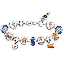 Fighting Illini Charm Bracelet with Swarovski Crystals