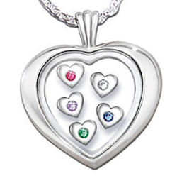Mother's Loving Heart Sterling Silver Floating Birthstone Pendant