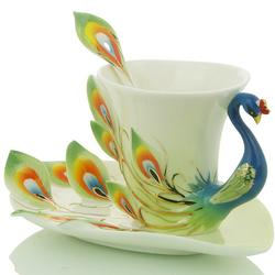Porcelain Enamel Peacock Coffee Cup Set