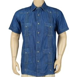 Denim Guayabera Short Sleeve Shirt