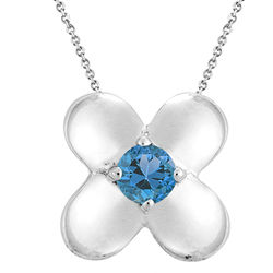 0.27cts Swiss Blue Topaz Solitaire Pendant in Silver