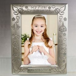 Engraved First Communion Silver Frame