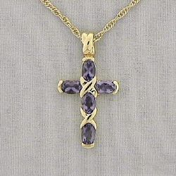 Amethyst Goldtone Cross Necklace