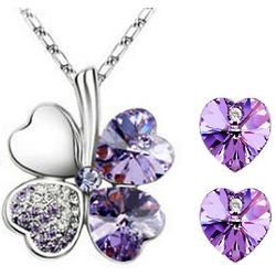 Swarovski Crystal Four Leaf Clover Necklace and Earrings