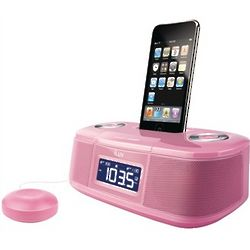 Pink iPod Dual Alarm Clock with Bed Shaker