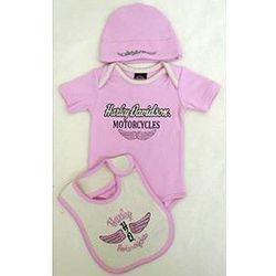 Harley-Davidson Pink Newborn Bodysuit Gift Set