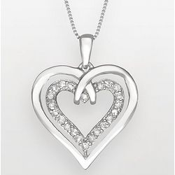 Two Hearts Forever One Sterling Silver Diamond Heart Necklace