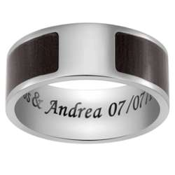 Titanium and Dark Wood Engraved Message Flat Band