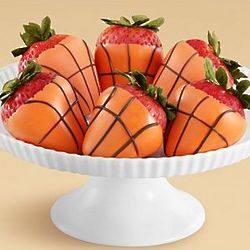 Half Dozen Hand-Dipped Chocolate Basketball Strawberries