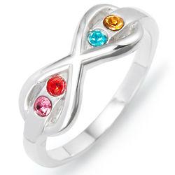 4 Birthstone Sterling Silver Infinity Ring