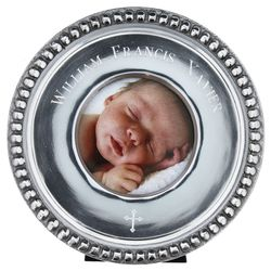 Personalized Aluminum Beaded Edge Round Mini Cross Picture Frame