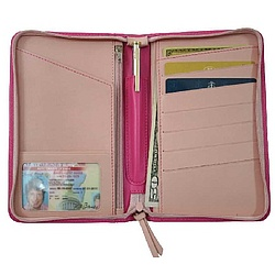 Pink Leather Passport Travel Wallet