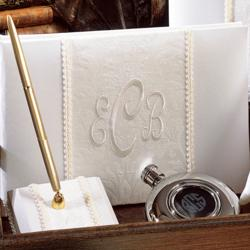 Brocade Monogram Guest Book