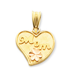 14k Two Tone Gold Flower 'Mom' Heart Pendant