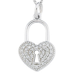 Diamond Heart Lock Pendant in 14k White Gold