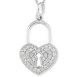 Diamond Heart Lock Pendant in 14k White Gold