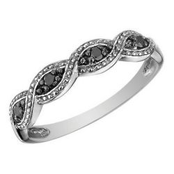 Infinity Black Diamond Ring in 10K White Gold