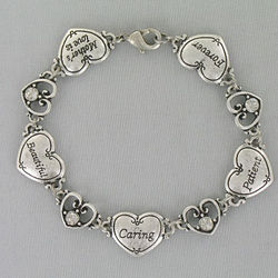 Silvertone Mother's Love Antique Heart Bracelet