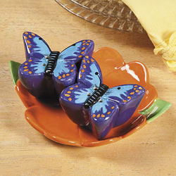 Butterfly Salt and Pepper Shakers on Flower