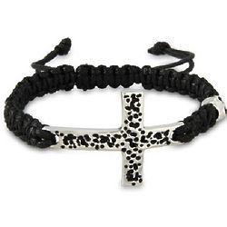 Men's Stainless Steel Cross Bracelet with Skull Bead