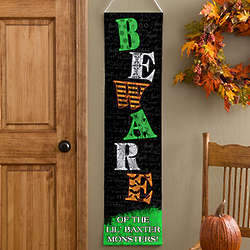 Beware of Little Monsters Personalized Halloween Banner