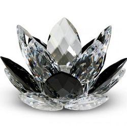 Crystal Lotus Black Candleholder