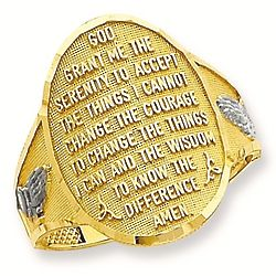 Serenity Prayer 14K Gold Oval Ring