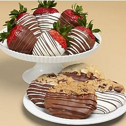 Chocolate Dipped Cookies and Half Dozen Swizzled Strawberries