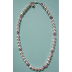 Pink Pearl and Crystal Pet Collar with Heart