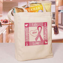 Personalized Ribbon of Heart Breast Cancer Awareness Tote