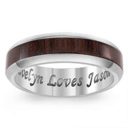 Titanium and Wood Engraved Message Beveled Edge Band