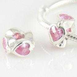 Pink Valentine Heart Cubic Zirconia Charm Bead