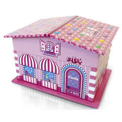 Pink Candy Decorated Playhouse with Spinning Ballerina Music Box