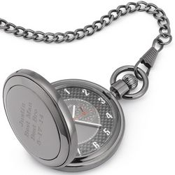 Gunmetal Carbon Fiber Pocket Watch