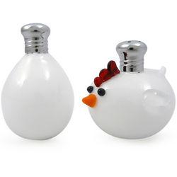 Chicken and Egg Handblown Glass Salt & Pepper Shaker Set