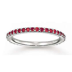 Stylish Prong Round Ruby Stackable Ring