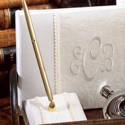 Brocade Monogram Wedding Pen Holder