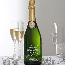 Personalized Happy New Year Champagne Art
