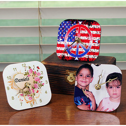 Photo and Text Personalized Desk Clock
